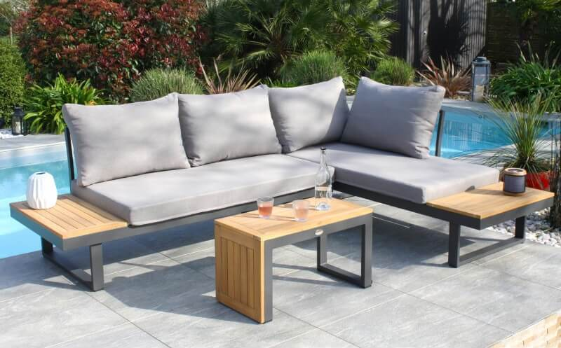 Salon de jardin en aluminium et bois d'acacia