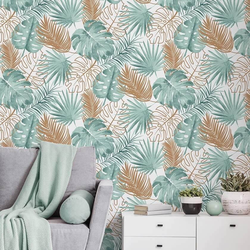 Papier peint moderne tapisserie tropicale